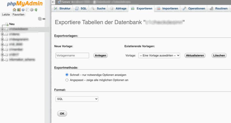 datenbank exportieren